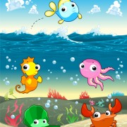 Underwater world with marine animal design vector 02