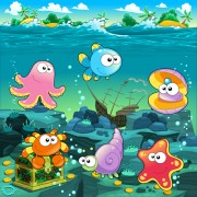 Underwater world with marine animal design vector 03