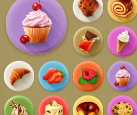Various dessert and food flat icons vector 01