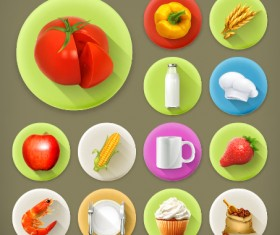 Various dessert and food flat icons vector 02