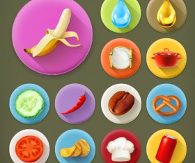 Various dessert and food flat icons vector 03