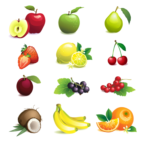 Various fresh fruit icons vector