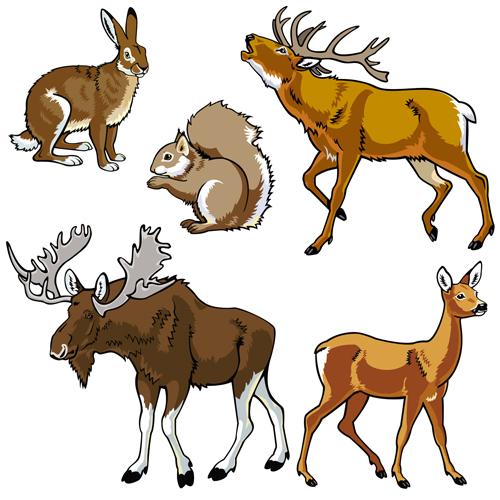 Vector set of wild animals design graphic 02