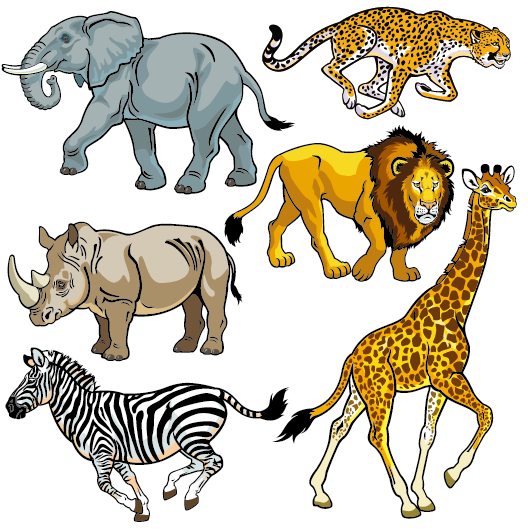 Vector set of wild animals design graphic 05