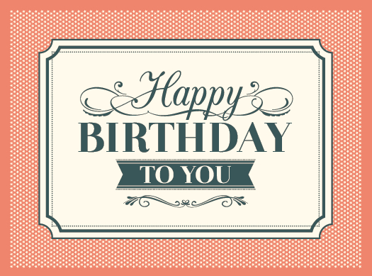 Vintage Happy Birthday Card Vector Material Free Download