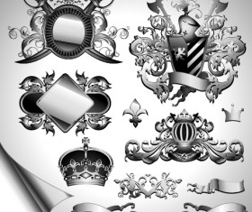Vintage black and white badge with heraldry vector set 04