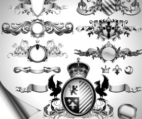 Vintage black and white badge with heraldry vector set 05