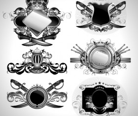 Vintage black and white badge with heraldry vector set 06