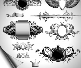 Vintage black and white badge with heraldry vector set 07