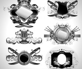 Vintage black and white badge with heraldry vector set 09