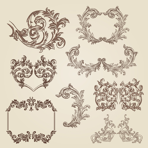 Vintage decorative borders and frames with corners vector ...