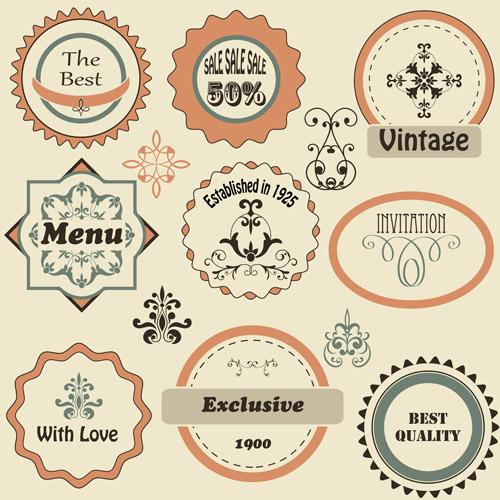 vintage flat labels vector graphics vector label free download. Black Bedroom Furniture Sets. Home Design Ideas