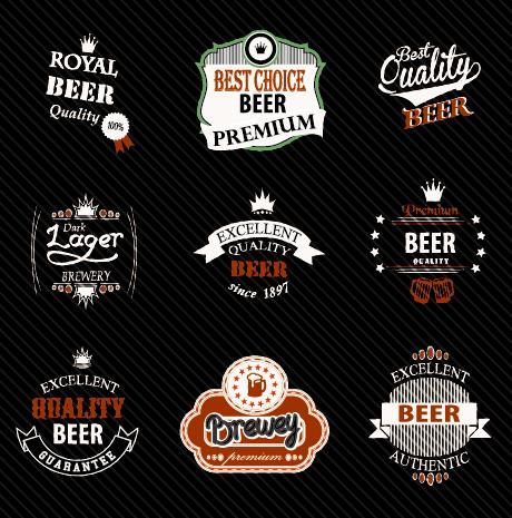 vintage royal beer labels with badges vector 01 free download