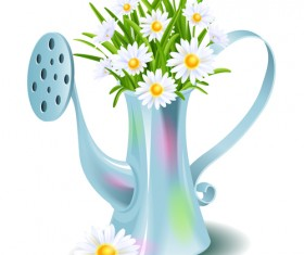 White flower with kettle vector