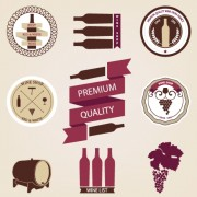 Wine menu labels retro design vector