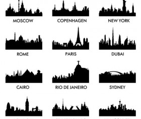 World famous cities silhouettes vector set 01