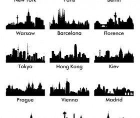 World famous cities silhouettes vector set 03