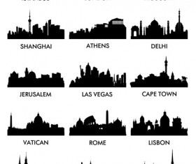 World famous cities silhouettes vector set 04