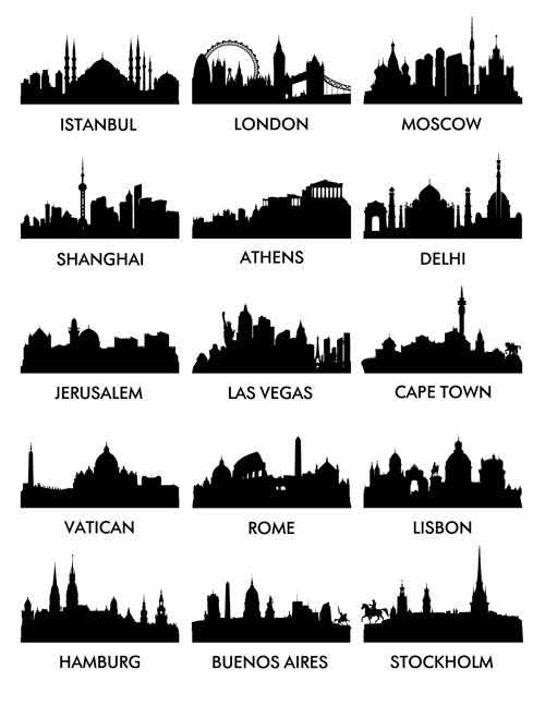 World famous cities silhouettes vector set 04 - Vector Silhouettes ...