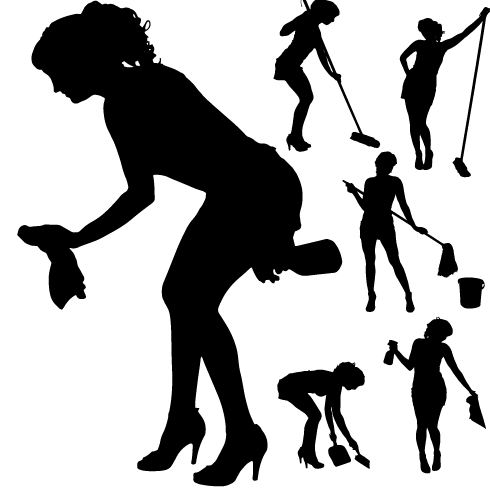 Woman Cleaning Logo Creative Cleaning Woman