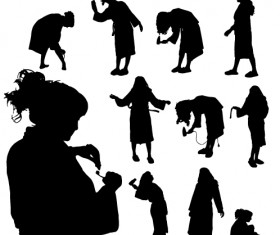 Creative cleaning woman silhouette design vector 02