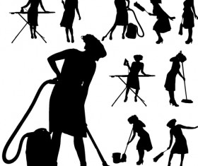 Creative cleaning woman silhouette design vector 03