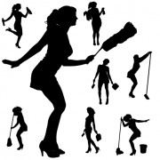 Link toCreative cleaning woman silhouette design vector 04