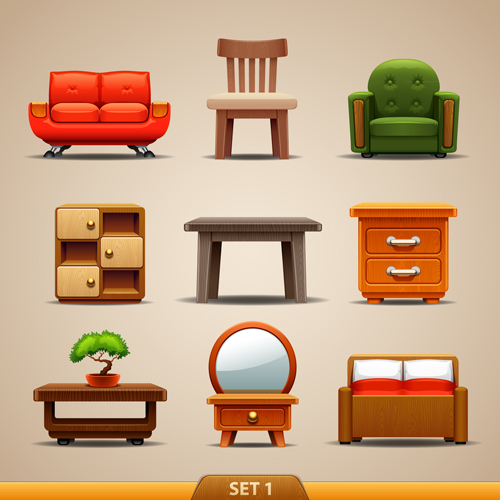 Shiny modern furniture icons vector 01