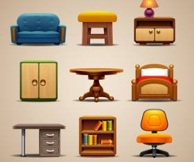 Shiny modern furniture icons vector 02