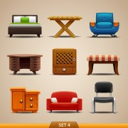 Shiny modern furniture icons vector 03