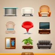 Shiny modern furniture icons vector 04