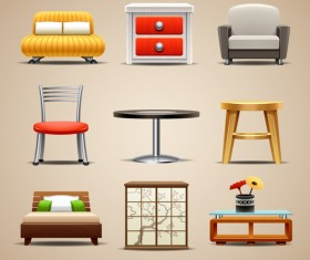 Shiny modern furniture icons vector 05