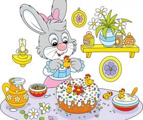 lovely cartoon bunny design vector set 01