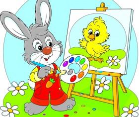 lovely cartoon bunny design vector set 02