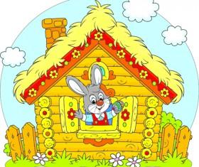 lovely cartoon bunny design vector set 03