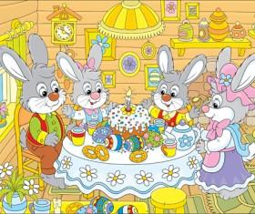lovely cartoon bunny design vector set 04