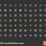 Link to100 kind small fine essential line icons vector
