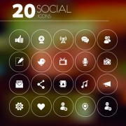 20 kind social icons vector material