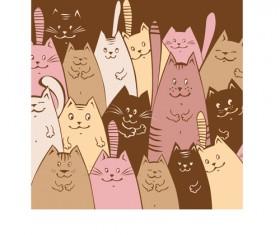 Amusing cartoon cats vector design 02