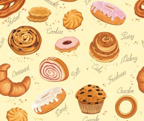 Bakery and cake seamless pattern vector