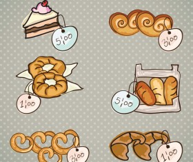 Bakery and cake with price tags vector