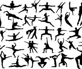 Ballet creative silhouettes vector material