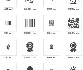 Barcode with badge and office supplies icons