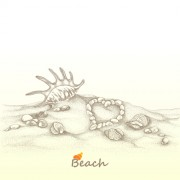 Link toBeach with shell retro background vector