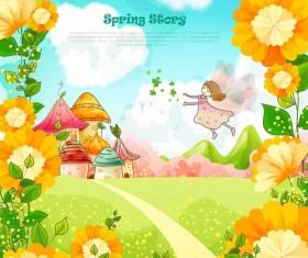 Beautiful cartoon spring scenery vector graphics 01