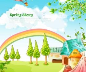 Beautiful cartoon spring scenery vector graphics 03