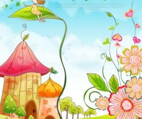 Beautiful cartoon spring scenery vector graphics 04
