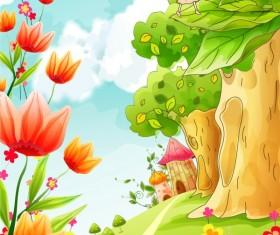 Beautiful cartoon spring scenery vector graphics 05
