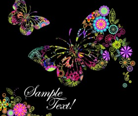 Beautiful floral butterfly creative background art 02