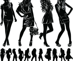Beautiful girls silhouette design vector material 02